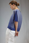 hip length top in polyester plissé with bicolour horizontal lines - ISSEY MIYAKE
