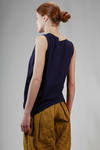hip length top in cotton jersey with thermo welded tone on tone geometric insert - ISSEY MIYAKE