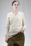slim fit and asymmetric hip length sweater in cotton cloth - ANDREA CORTELLA