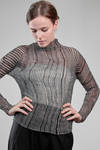 hip-length sweater in wrinkled polyester plissé with bicolour irregular vertical pleats - ISSEY MIYAKE