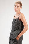 hip length waistcoat in heavy pinstripe wool and linen - ZUCCA
