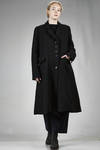 long coat in pounded wool, linen and cotton cloth, polyester and lycra lined - YUKAI