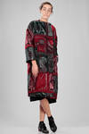 calf length coat in woolen, cotton and nylon cloth, multicolor tapestry processed - NATIVE VILLAGE