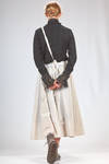 long skirt in washed canvas of viscose, cotton and linen with vertical stripes and in linen canvas and mulberry silk on the inside - RENLI SU