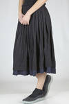 wide longuette skirt in doubled and wrinkled polyester and cotton jersey - Y'S Yohji Yamamoto