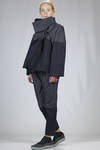 hip length pea coat in very light cotton denim and bicolour polyester - ISSEY MIYAKE