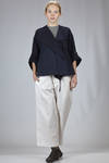 wide hip length jacket in cotton canvas - FORME D' EXPRESSION