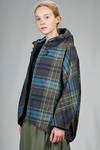 hip length pea coat in waterproof and windproof polyamide canvas with madras print with 'dented' effect - AHIRAIN