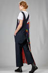 trousers dungaree in wool and linen canvas with light dress patched above on one side in cupro - JUNYA WATANABE