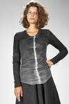 slim fitted t-shirt in very light viscose, wool and elastane jersey - MARC LE BIHAN