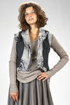 'haute couture' gilet in wool, polyester and silk jacquard with floral print slightly shinny - MARC LE BIHAN