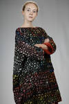 wide tunic in melange cashmere grid and in silk crêpe de chine with abstract 'pomegranate' printed - DANIELA GREGIS